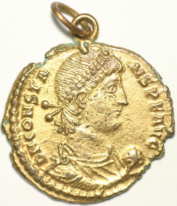 Roman Empire - Constans, AE 24 gold plated (fourree) follis - Fallen Horseman - Thessalonika - AE24