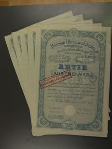 Germany total of 210 shares in sets of 5, 42 different etc. before 1945