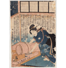 "Large original Woodblock Print ""Tapping Water"" by Utagawa Sadahide  - Japan - ca. 1850"