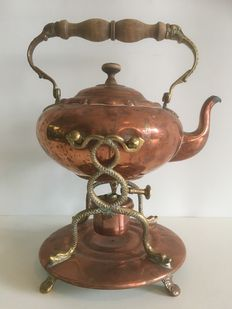 Antique red-and yellow copper Bouilloire (tea kettle on stand with burner)-early 20th century