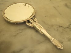 Sterling Silver Hand Mirror, Empire Style, France, 19th Century
