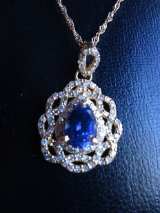 3.27Ct 18KT Yellow Gold Natural Blue Tanzanite and EGL Certified Diamond Pendant