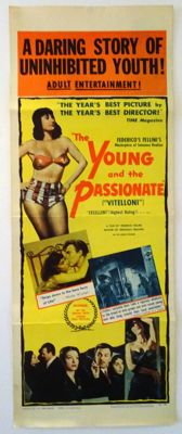 """The young and the passionate / I Vitelloni - Federico Fellini - 1957 - Original 14"""" by 36"""" insert movie poster for this API Janus Release"""
