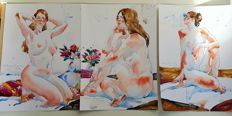 Original work; Lot of 3 Nude paintings  by Ewa L. - 2016