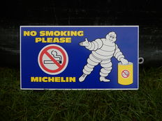 "Vintage Original Foam Particle Board Michelin Garage Advertising Sign ""No Smoking Please""  in Excellent Vintage Unused Condition"