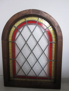 Old magnificent stained glass with mosaic pieces in oak frame-early 20th century