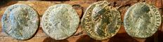 Roman Empire - Lot of 4 coins - Dupondius and As - Antoninus Pius, Marcus Aurelius and Faustina the Elder.