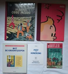 Hergé - 5 uitgaven mbt. Kuifje - o.a Manne obbe Moan + Post uit Hongkong (Blauwe versie) - sc/hc (2003/2009)