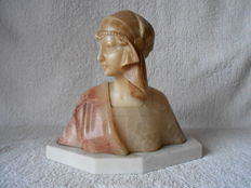Art Deco Alabaster woman's bust signed Fattorini