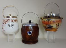 3 cake jars-including some which are hand painted/signed