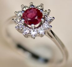 Entourage white gold ring with very good quality Ruby and with 12 white brilliant cut diamonds G/VVS1, excellent state/unworn.