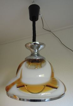 Vintage hanging lamp of coloured glass
