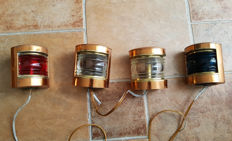 4 old copper ship's lights - 20th century