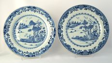 Plates with river landscape decor  - China - approx. 1750