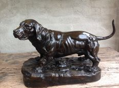 Bronze dog Basset after the original by Jules Moigniez mid 20th century