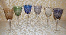 Full set of 6 multicolour crystal wine glasses, second half of 20th century
