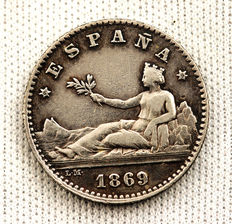 Spain – Provisional Government – 50 silver cents 1869. Madrid.