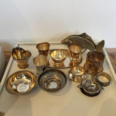 Box with various curio items: silver-plated, tile, tin (pewter) and bronze