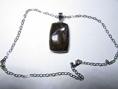 925 silver necklace with boulder opal