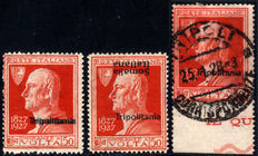 Italian Colonies, Tripolitania, 1927 – Volta – 3 different variations