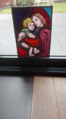 Beautiful antique stained glass Sun Catcher - mother with child
