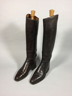 Kempkens - a pair of brown leather ladies riding boots -Germany-second half 20th century