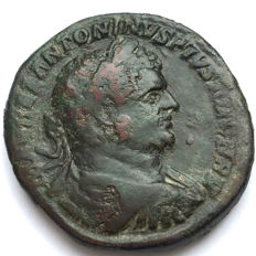 Roman Empire - Caracalla. 198-217. AD AE Sestertius Scarce Bust Type, BRIT as abbreviation of BRITANICVS on his titulature.