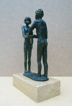 Anonymous - bronzed sculpture of 2 naked young people