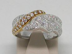 Diamond two tone ring total: 1,95 ct - Ring size BE 54 // NL 17,25 mm free adjustment of ring up to size 70