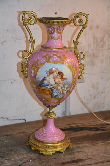 Late 19th century French Sèvres style vase in gilded mounts