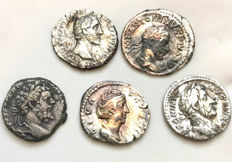 Roman Empire - Lot of Five Roman Silver Denarii