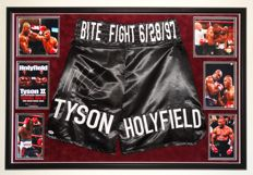"""Iron"" Mike Tyson original signed boxing Bite Fight (!!) trunks (Boxing shorts) - Premium Framed + COA from PSA"