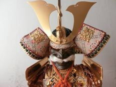 Japanese samurai doll in full armour - Japan - mid 20th century.