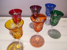 A set of 6 carved crystal glasses, Bohemia, end of 20th century