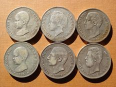 Spain - Set of 6 silver coins of 5 pesetas each - Amadeo I (1871 * 71); Alfonso XII (1876 and 1884) and Alfonso XIII (1888, 1892 and 1893). (6).