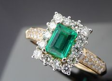 "Diamond ring with natural  ""Deep Bluish Green Colombian Emerald "" 0.62 ct  with IGI  certificate  & 34 diamonds  total  0.60 ct"
