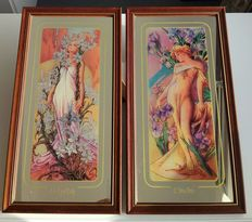 """Two Large Mirrors """"Lily"""" and """"Iris"""" - Alfons Mucha, Art Nouveau Style"""