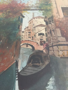 Unknown artist - Canal view of Venice with Gondola