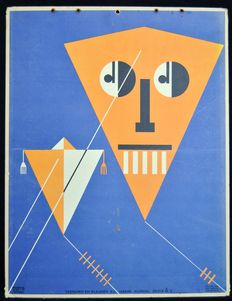 School poster illustration example from 1929 in Art Deco style: Kite