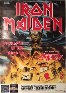 2 Original Iron Maiden Concert Posters + 1 Movie release poster + 1 Album release poster