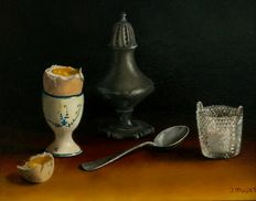 Jan Muijs (1925-2015)-still life with egg cup with egg and cut glass saltshaker