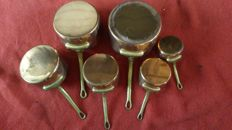 6 French copper saucepans