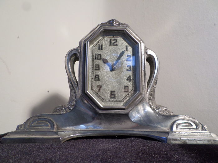 art deco lux clock with two matching candlesticks catawiki