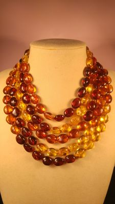 Baltic amber multicolour necklace, 118gr
