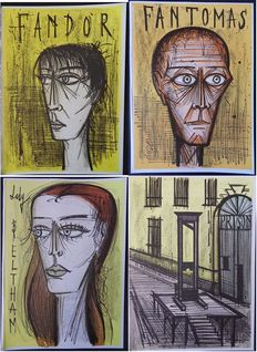 Bernard Buffet (after) -  Fantomas : Lady Beltram, Fandor, Fantomas, Guillotine