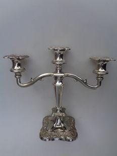 Silver plated three light candle stand, England, mid 20th century
