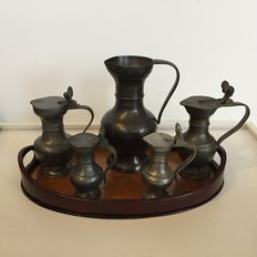 Antique tray with Five pewter jugs, including 'acorn' jugs - Western Europe - 19th and 20th century