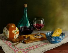 Jan Muijs (1925-2015) - Still life with wine decanter, wine glass and Delft blue bowl
