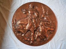 Old large massive brass image of a horseman with deep embossment, marked worked signature twice.