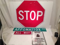 4 original street signs from Texas, USA